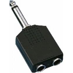 Adaptor Jack 6.3 tata mono - 2 x Jack 6.3 mama mono Monacor NTA-199