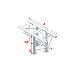 Grinda Showtec T-Cross vertical 3-way, apex down Pro-30 Triangle P Truss