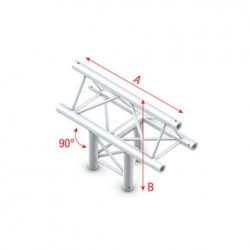 Grinda Showtec T-Cross vertical 3-way, apex up Pro-30 Triangle P Truss