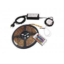 Banda adeziva de 45 LED-uri RGB tip SMD 5050 cu telecomanda IR, 1,5m, Eurolite LED IP Strip Set 45 1.5m RGB 12V (50532000)