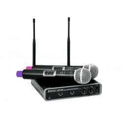 Set wireless cu receiver si 2 microfoane, Omnitronic UHF-102 823.5/863.1MHz