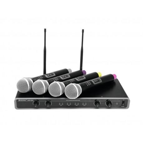 Set wireless cu receiver si 4 microfoane, Omnitronic UHF-104 823.5/825.3/863.1/864.1MHz