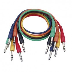 Set 6 cabluri Jack 6.3 stereo la Jack 6.3 stereo, 0.30 m , DAP-Audio FL-1230-0.30m.