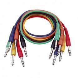 Set 6 cabluri Jack 6.3 stereo la Jack 6.3 stereo, 1.30 m , DAP-Audio FL-1290-1.30m