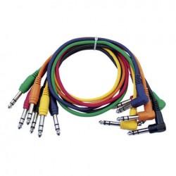 Set 6 cabluri Jack 6.3 stereo la Jack 6.3 90°, 1.30 m , DAP-Audio FL-1590-1.30m