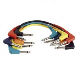 Set 6 cabluri Jack 6.3 90° mono la Jack 6.3 90° mono, 0.30 m , DAP-Audio FL-4130-0.30m