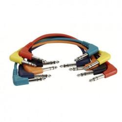 Set 6 cabluri Jack 6.3 90° stereo la Jack 6.3 90° stereo, 1 m , DAP-Audio FL-4260-1m.