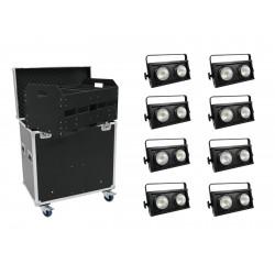 Set 8x Audience Blinder 2x100W LED COB + Case Eurolite