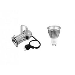 Set PAR-16 Spot sil + GU-10 230V COB 7W 3000K Eurolite