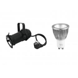 Set PAR-16 Spot bk + GU-10 230V COB 7W 6400K Eurolite