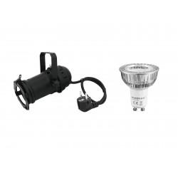 Set PAR-16 Spot bk + GU-10 230V COB 1x3W LED 2700K Eurolite