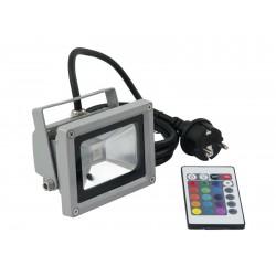 Reflector de exterior cu LED 10W COB RGB 120° si telecomanda, Eurolite LED IP FL-10 COB RGB 120° RC (51914600)