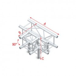 Grinda Showtec T-Cross + Down 4-way Pro-30 Square F Truss