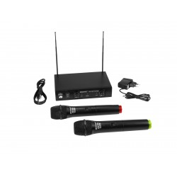 Set wireless cu receiver si 2 microfoane, Omnitronic VHF-102 215.85/207.55MHz
