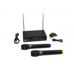 Set wireless cu receiver si 2 microfoane, Omnitronic VHF-102 214.35/201.60MHz
