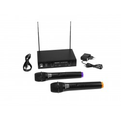 Set wireless cu receiver si 2 microfoane, Omnitronic VHF-102 212.35/200.10MHz