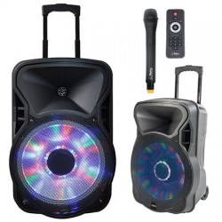 Boxa portabila activa cu USB/SD/BT/FM Ibiza Party-12LED