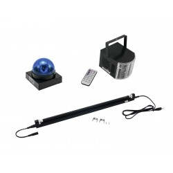 Set party Eurolite Set LED Buzzer-Polizeilicht blue + LED Mini D-4 + UV tube complete fixt.60cm 13W